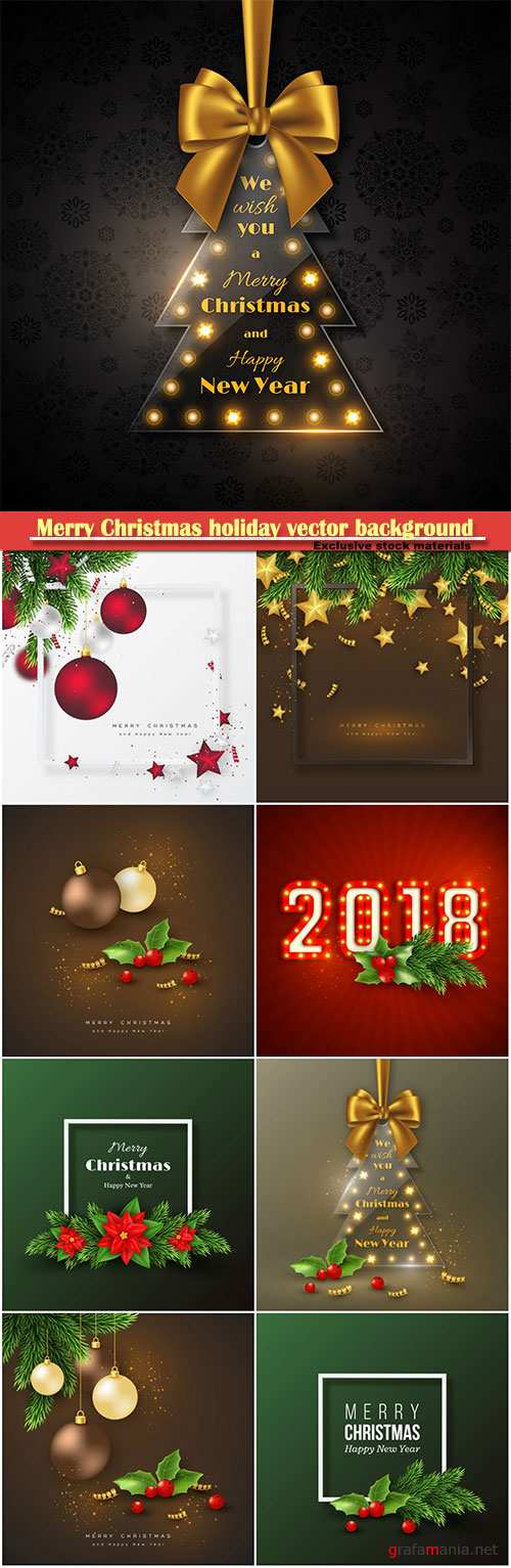 Merry Christmas holiday vector background, decorations with spruce branches