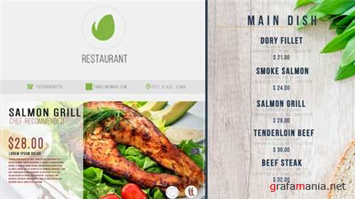 Restaurant Digital Food Menu - After Effects Project (Videohive)