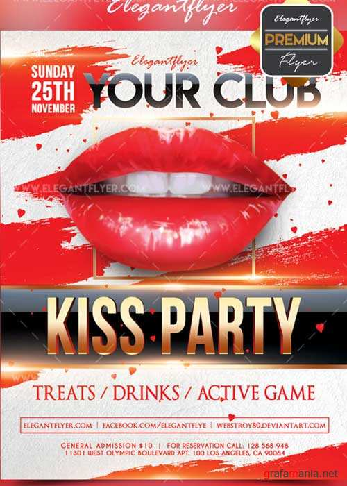 Kiss party V11 Flyer PSD Template + Facebook Cover