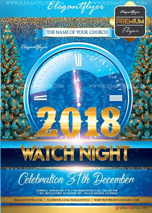 Watch Night 2018 V2 Flyer PSD Template + Facebook Cover