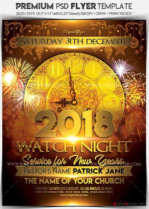 Watch Night Service for New Years V1 Flyer PSD Template + Facebook Cover