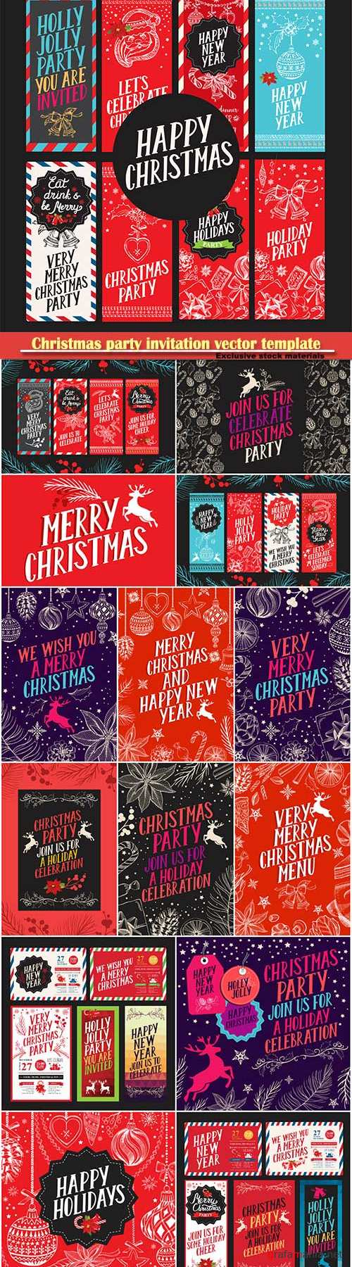 Christmas party invitation vector template