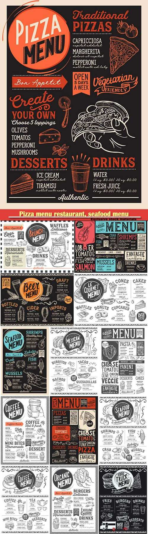 Pizza menu restaurant, seafood menu vector template
