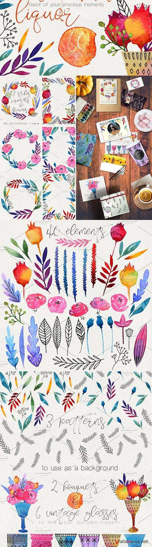 Autumn Liquor. Watercolor Design Set - 1984062