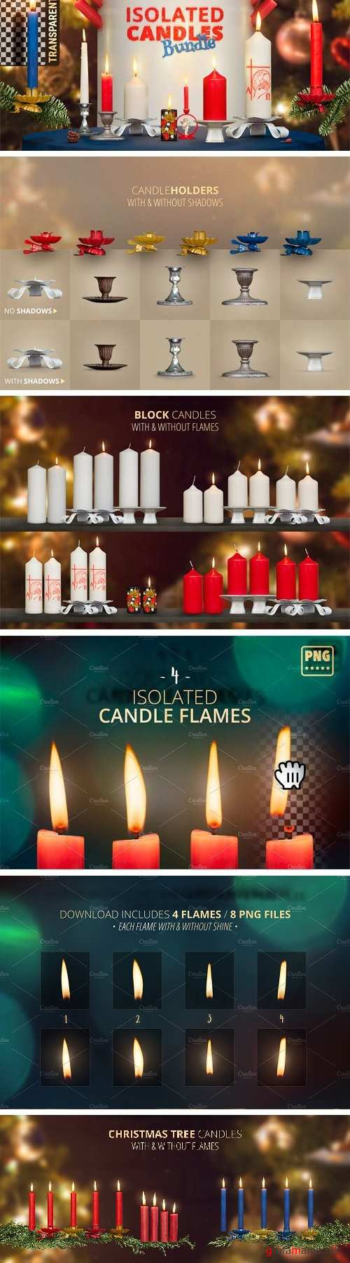Isolated Candles Bundle with Flames 1989053