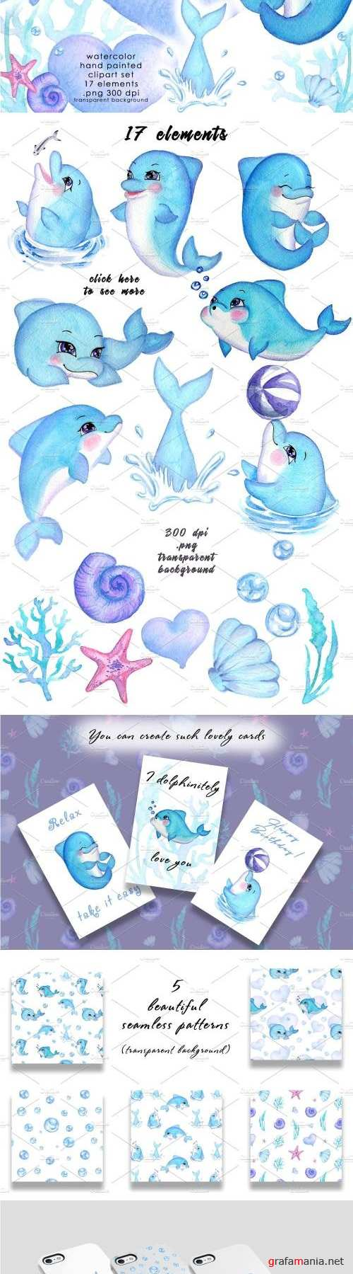 Watercolor Clipart - Happy Dolphins - 1989805