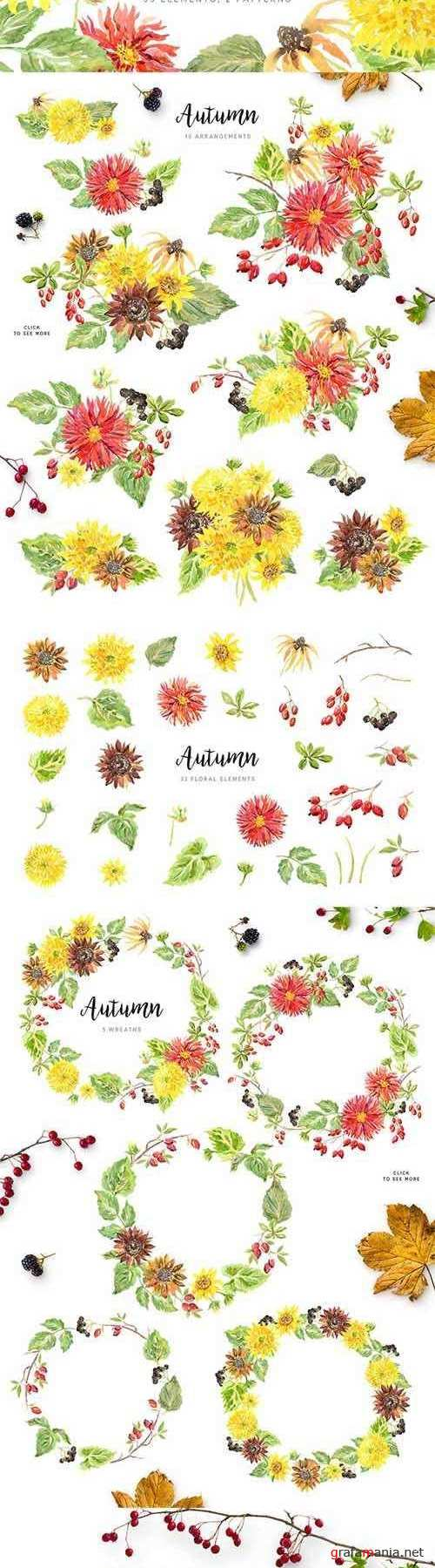 Autumn. Watercolor Floral Collection 1978266