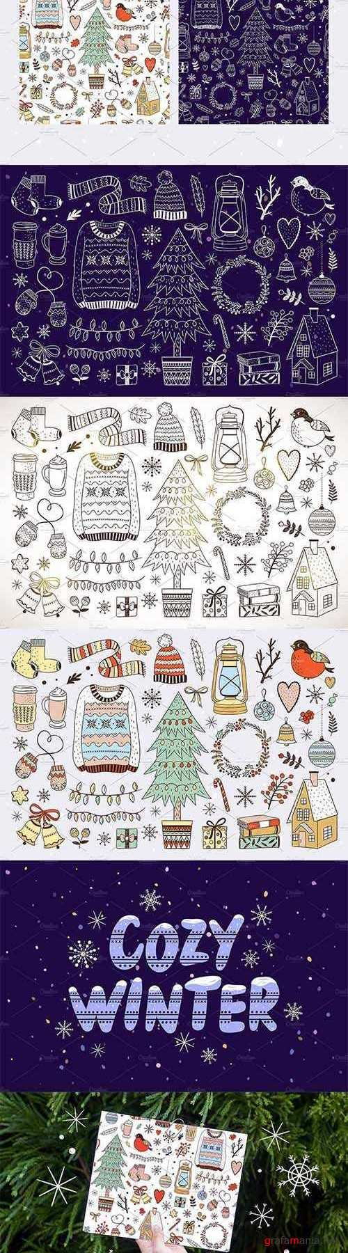 Cozy Winter Illustrations + Patterns - 2008536