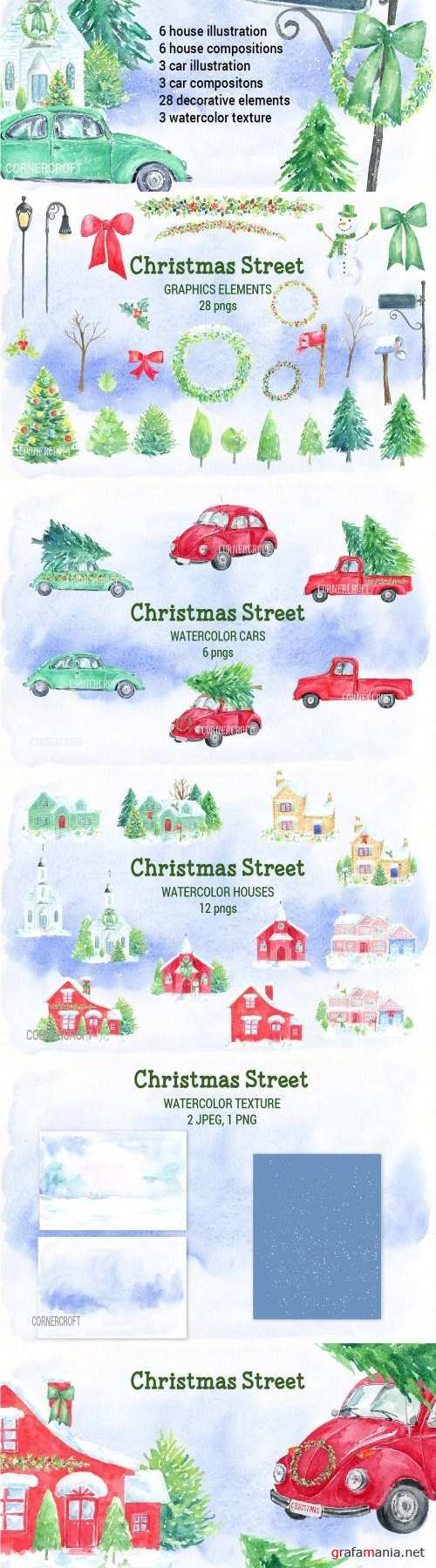 Watercolor Christmas Street - 2061412