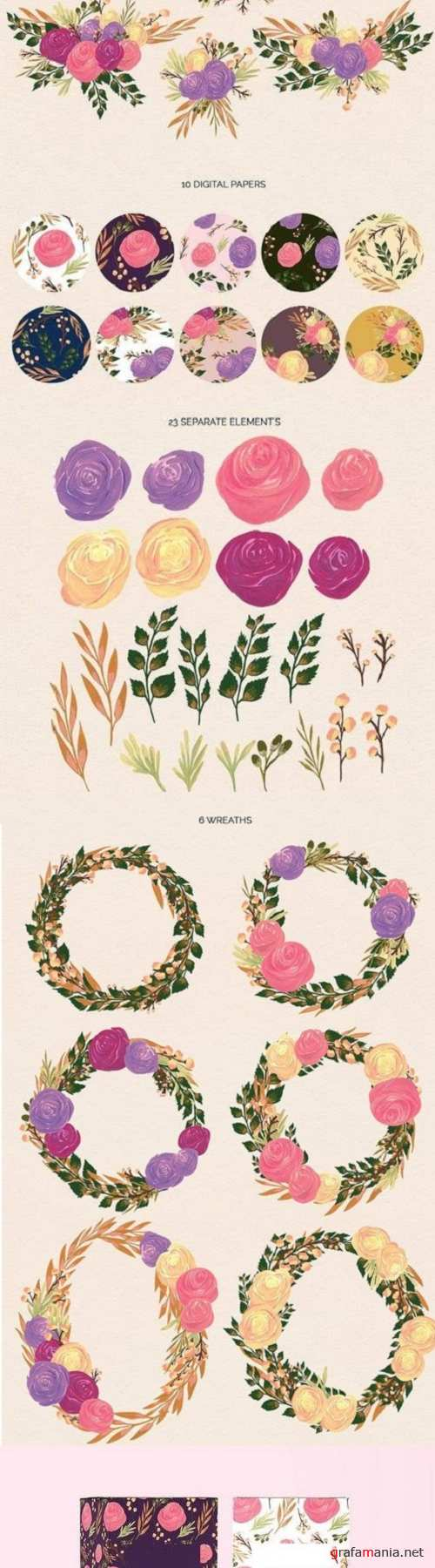 Puspita Gouache Flowers Design Set - 1420218