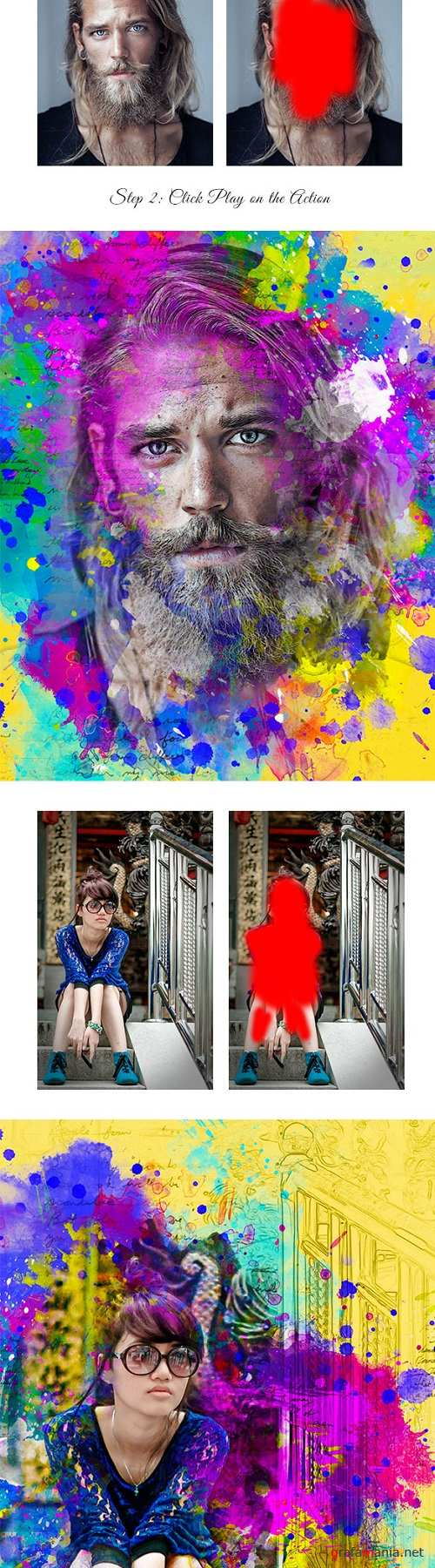 Abstract ColorFull Ink Photoshop Action 20966392