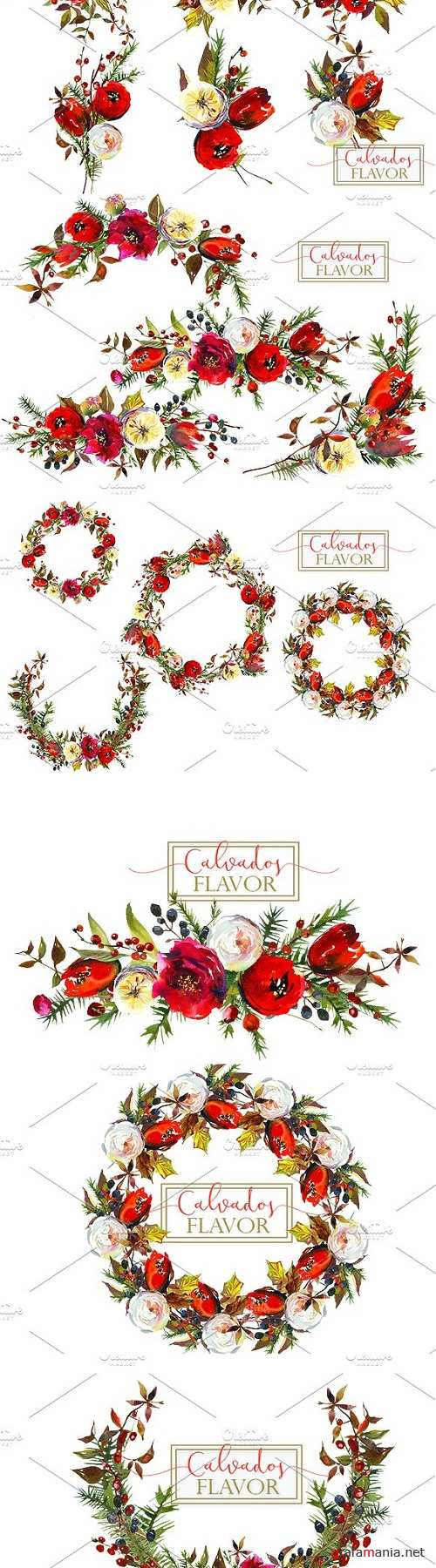 Red Winter Flowers Clipart Set - 962902