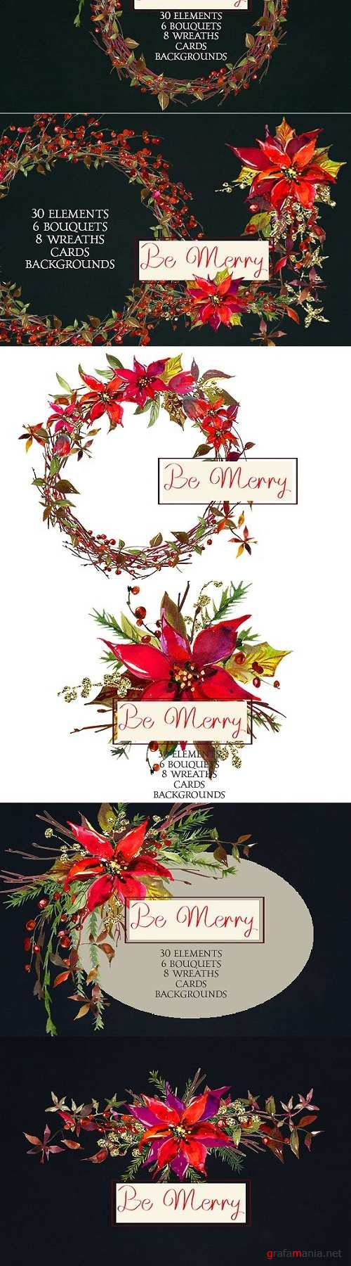 Christmas Watercolor Flowers Clipart - 970563
