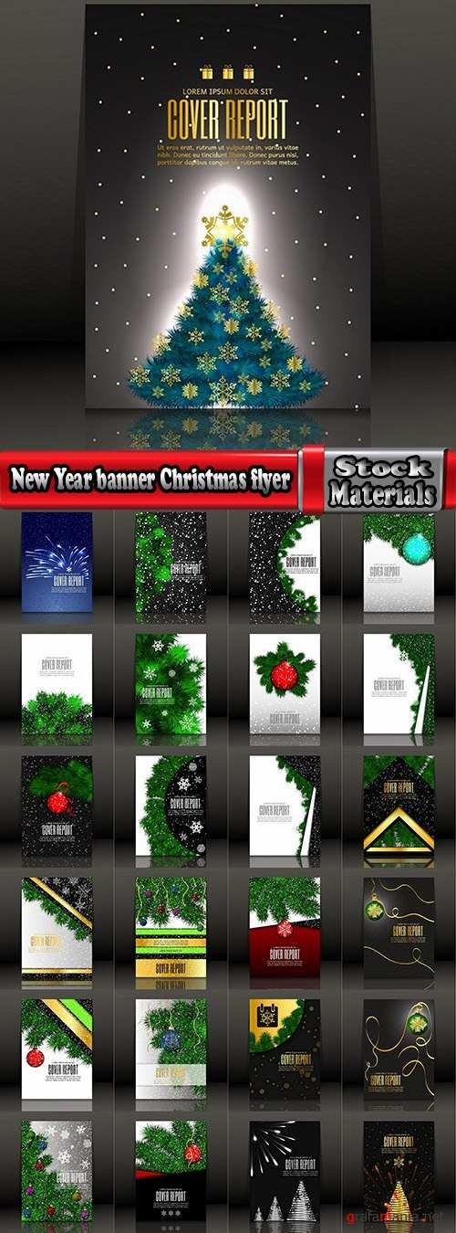 New Year banner Christmas flyer cover invitation card 25 EPS