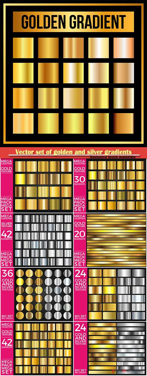 Vector set of golden and silver gradients