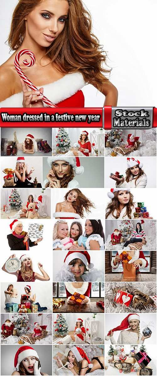 Woman dressed in a festive new year christmas holiday Snow Maiden 2-25 HQ Jpeg