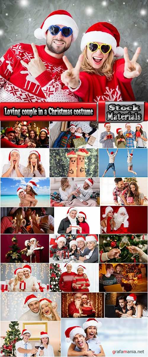 Loving couple in a Christmas costume New Year family holiday 25 HQ Jpeg