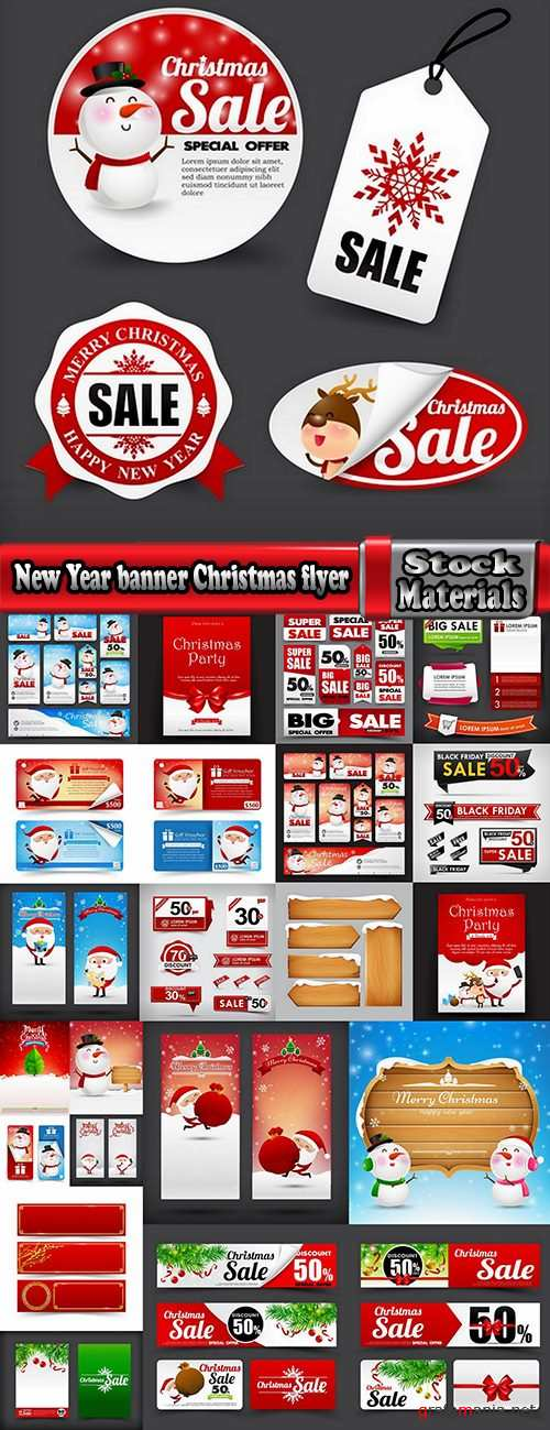 New Year banner Christmas flyer sticker label discount sale EPS 24