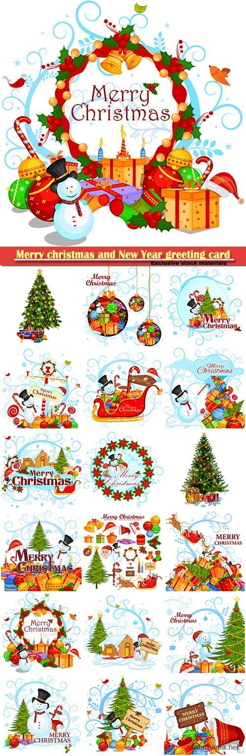 Merry christmas and New Year greeting card vector # 8