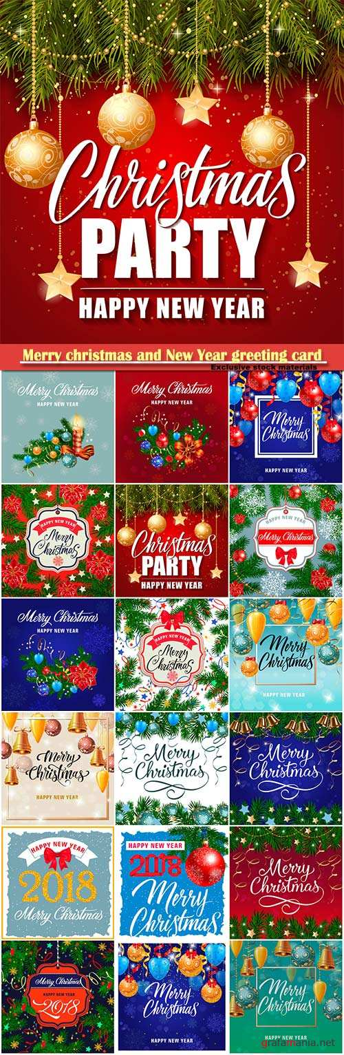Merry christmas and New Year greeting card vector # 7