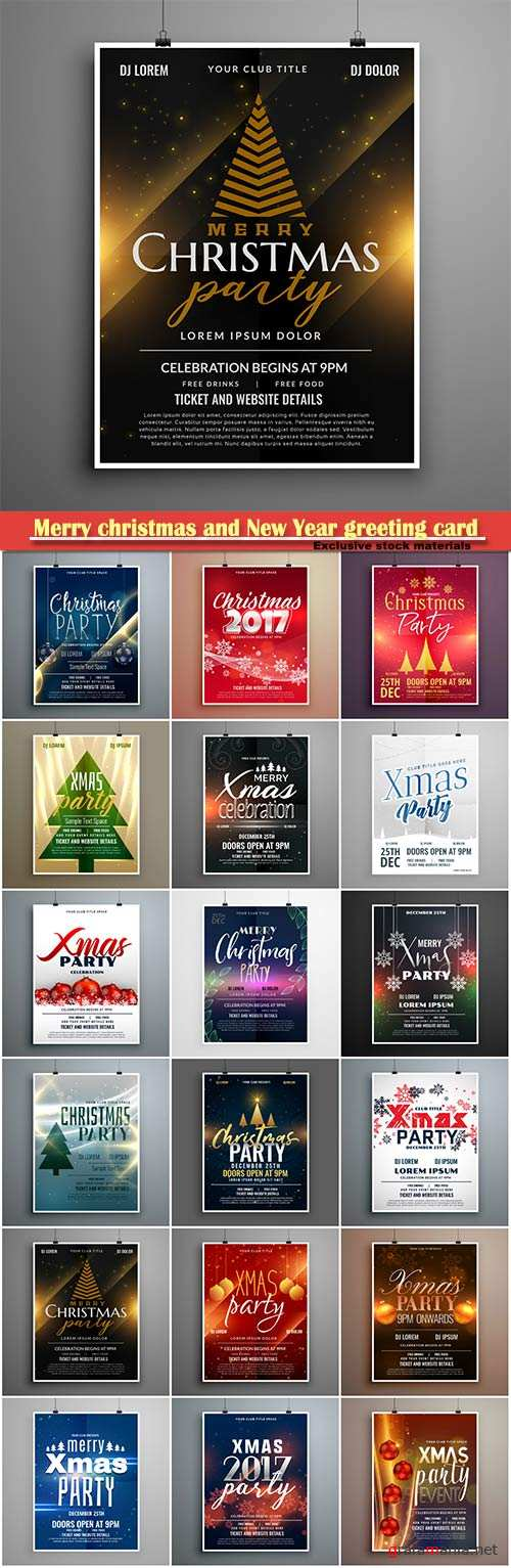 Merry christmas and New Year greeting card vector # 6