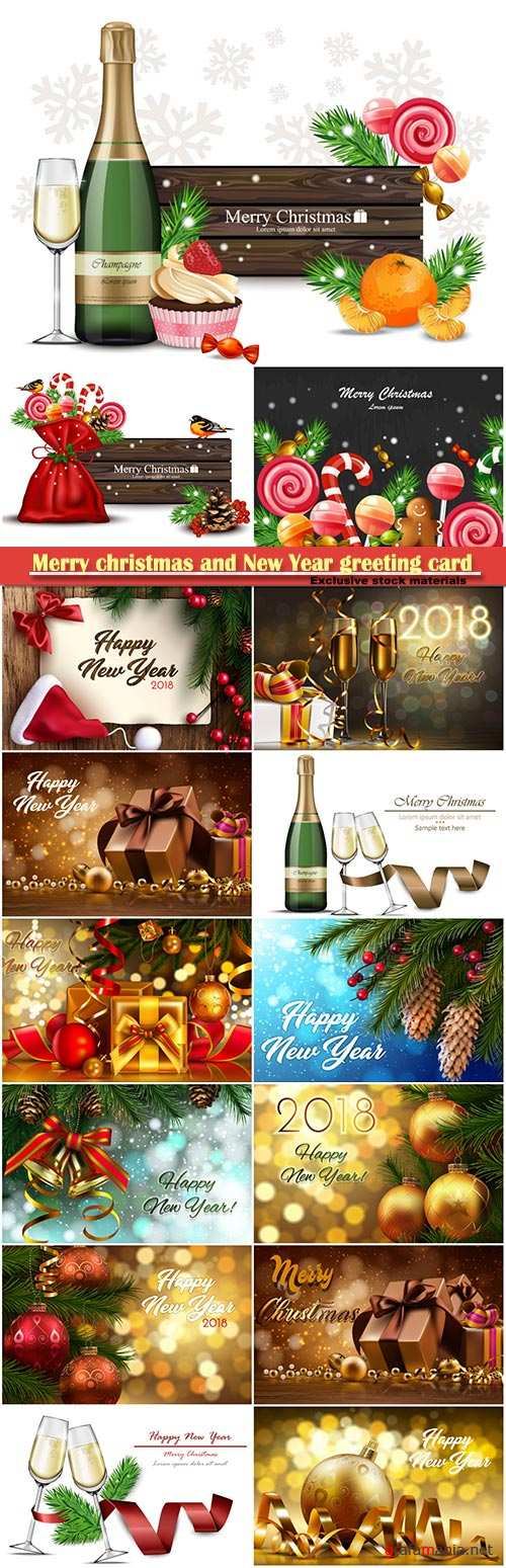 Merry christmas and New Year greeting card vector # 23