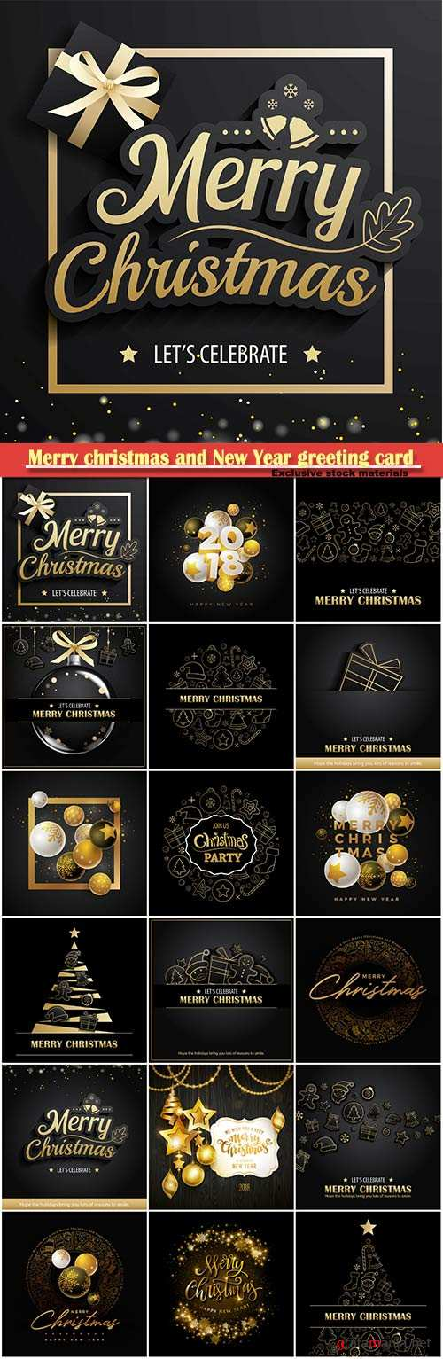 Merry christmas and New Year greeting card vector # 22