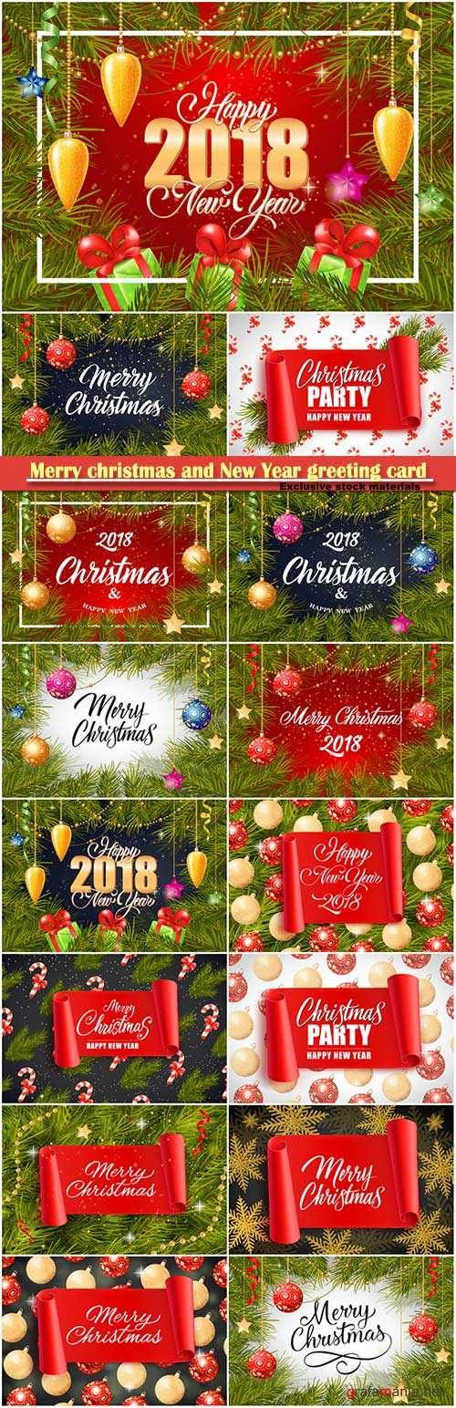 Merry christmas and New Year greeting card vector # 30