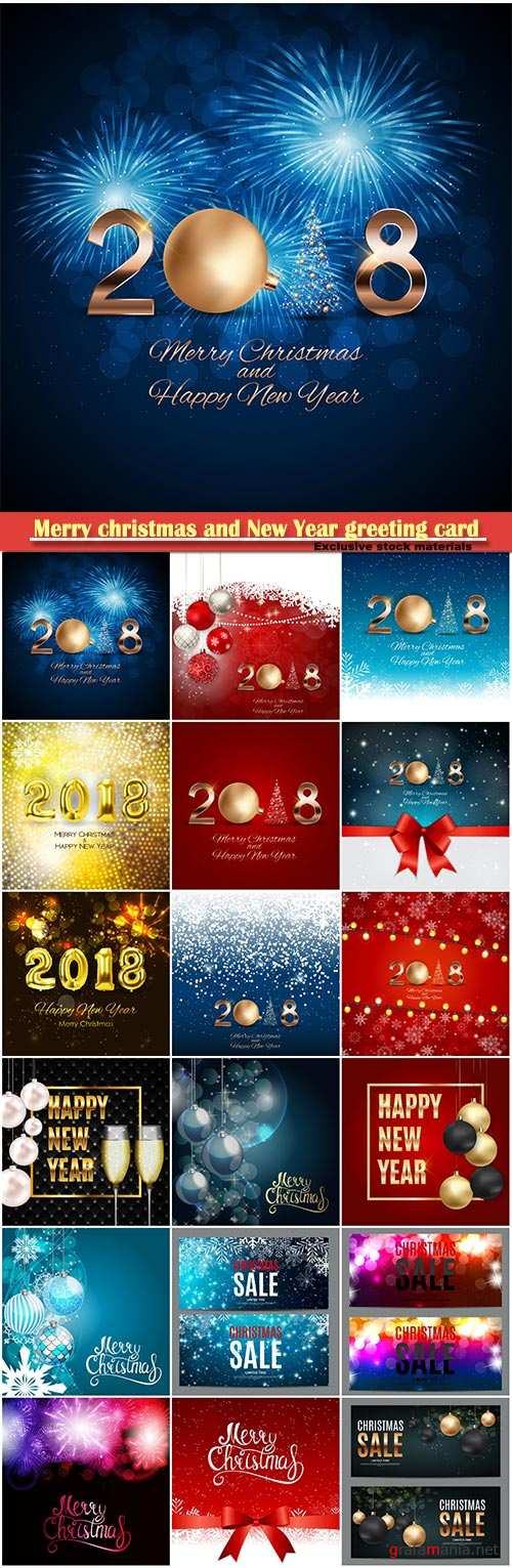 Merry christmas and New Year greeting card vector # 28