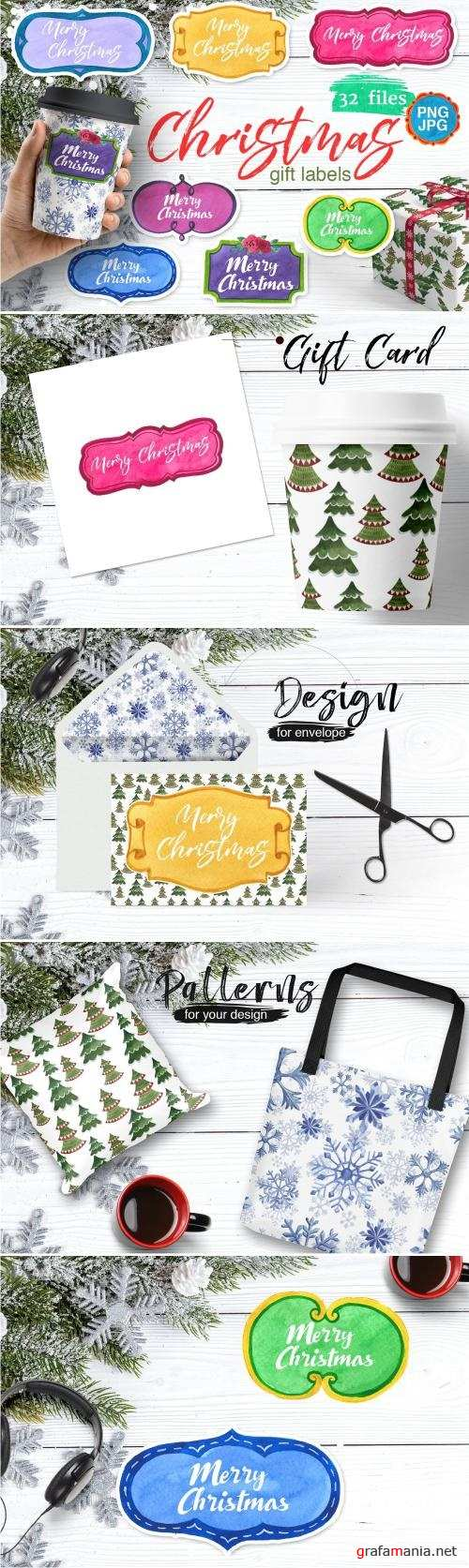 Gift labels PNG watercolor set - 2030181