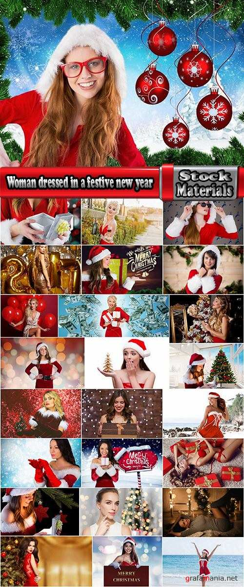 Woman dressed in a festive new year christmas holiday Snow Maiden 25 HQ Jpeg