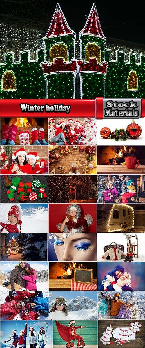 Winter holiday mountain nature snow Christmas lights 25 HQ Jpeg