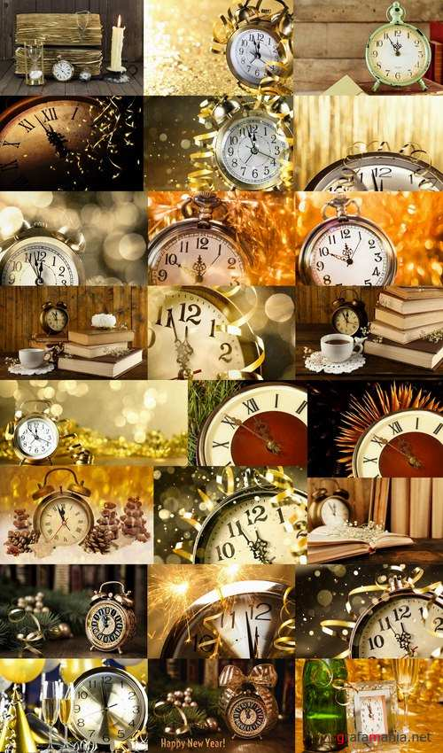 New Year Christmas still life with vintage clock logo 25 HQ Jpeg