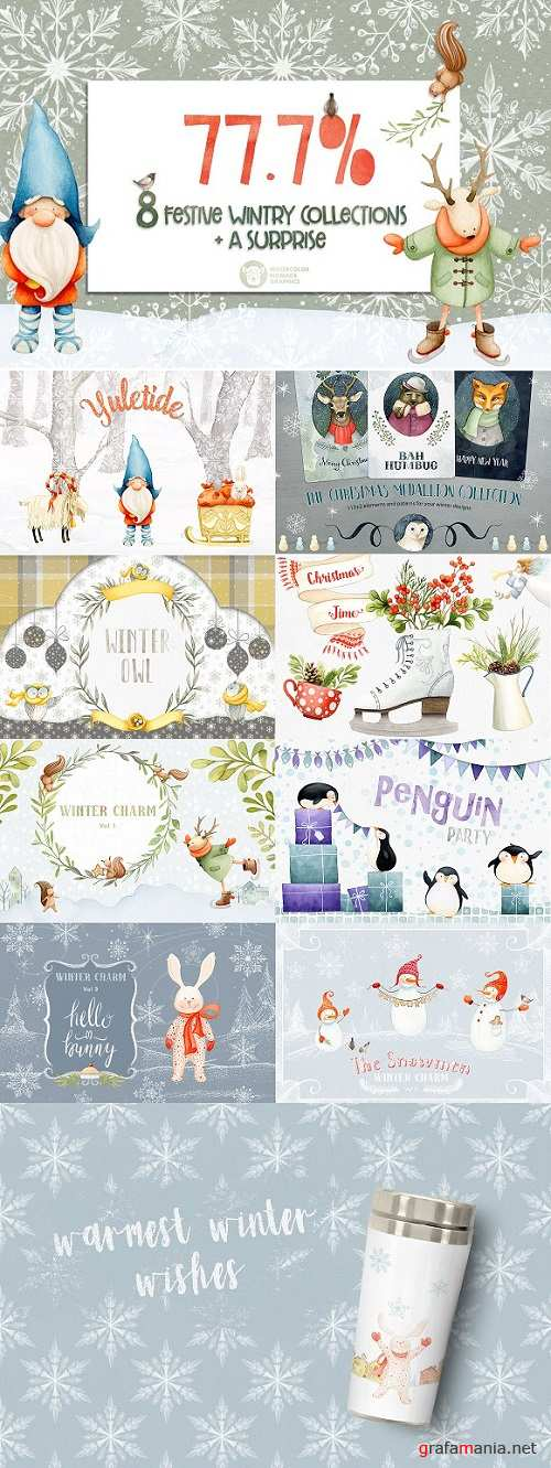 Winter & Christmas Watercolor Bundle - 2088165