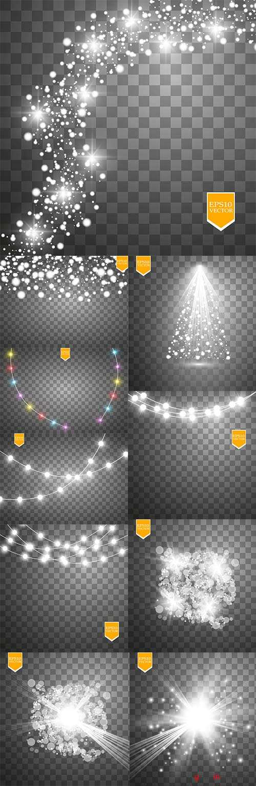 Light effects sparkling elements dark background 7