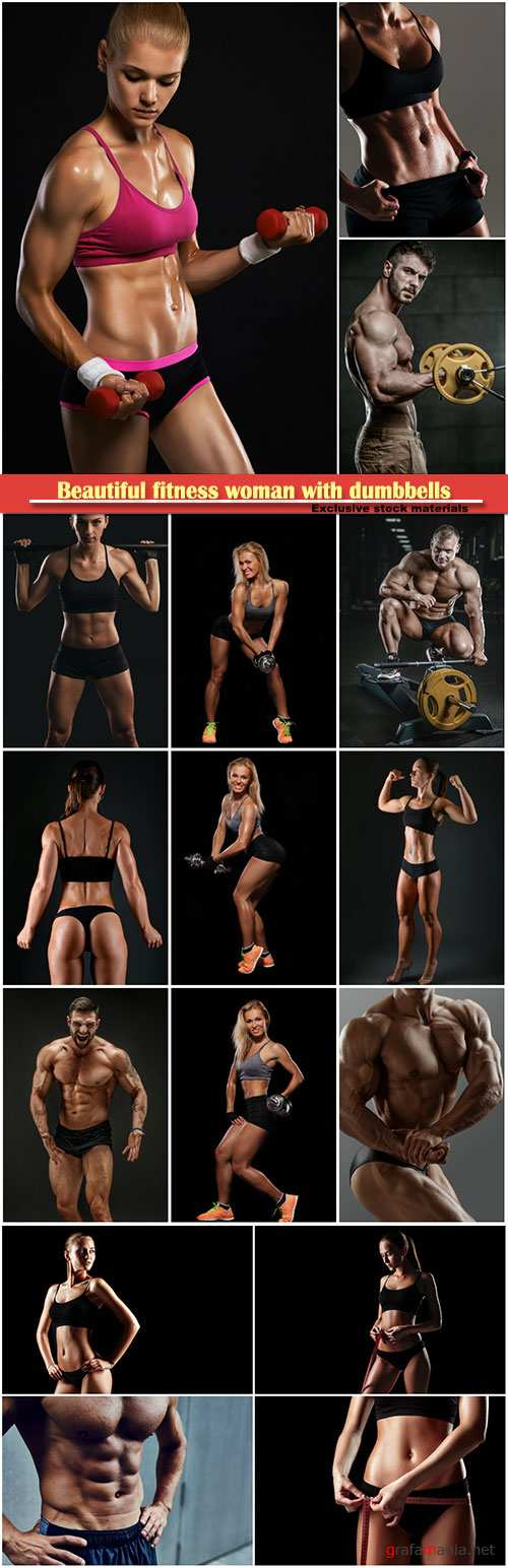 Beautiful fitness woman with dumbbells, bodybuilder working out in gym