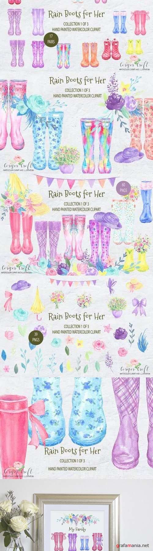 Watercolor Rain Boots for her - 2103988