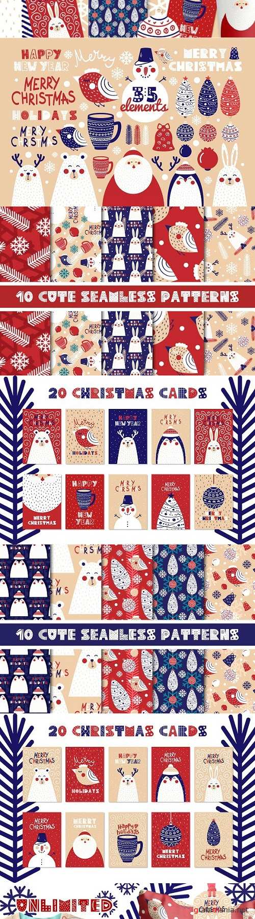 Christmas cards, elements & patterns - 2063768