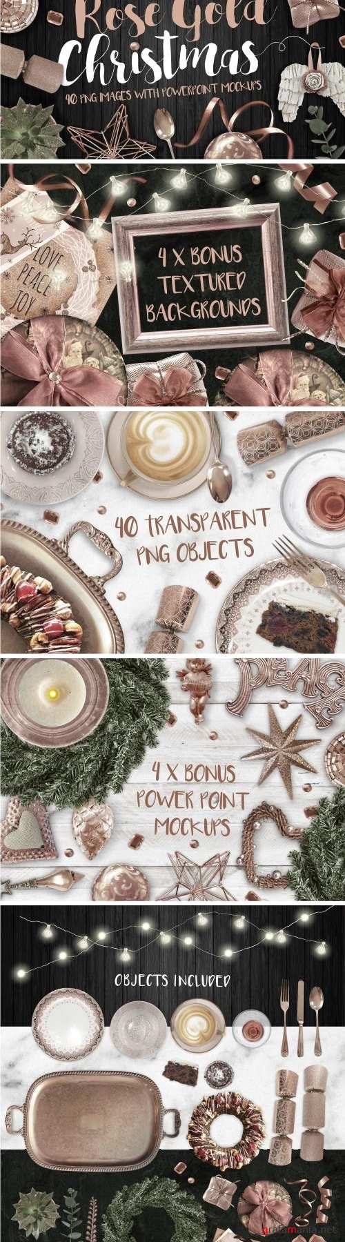 Rose Gold Christmas PNG Photo pack - 2104177