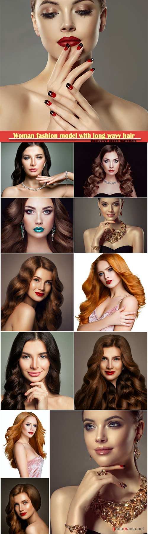 Woman fashion model with long wavy hair, haircare concept