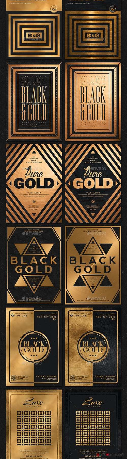 10 Minimal Black and Gold Flyers Bundle 20610396