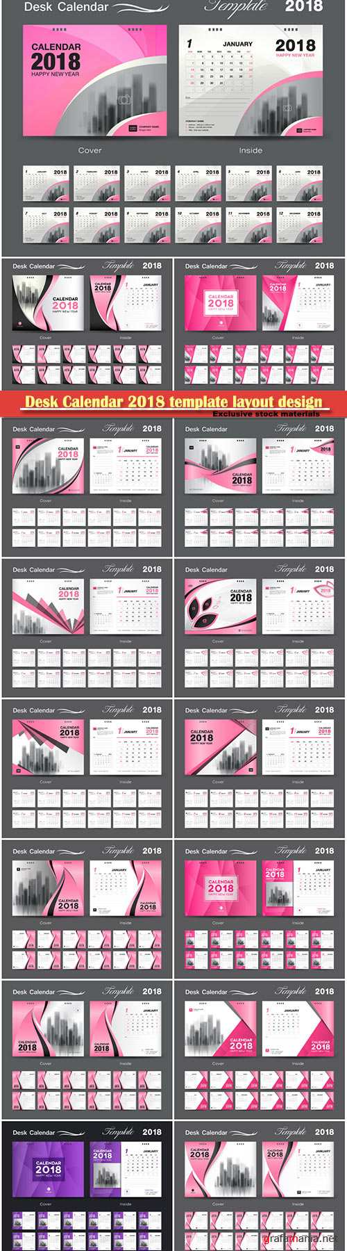 Desk Calendar 2018 template layout design, cover set of 12 months