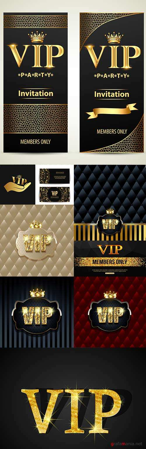 VIP invitations and luxury cards royal golden decor
