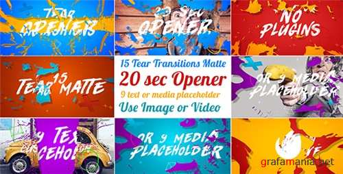 15 Tear Transitions with Opener - After Effects Project (Videohive)