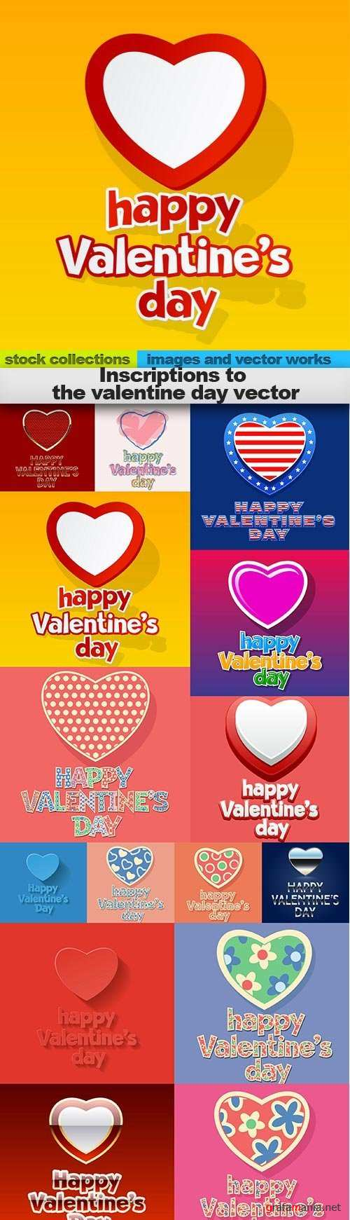 Inscriptions to the valentine day vector, 15 x EPS