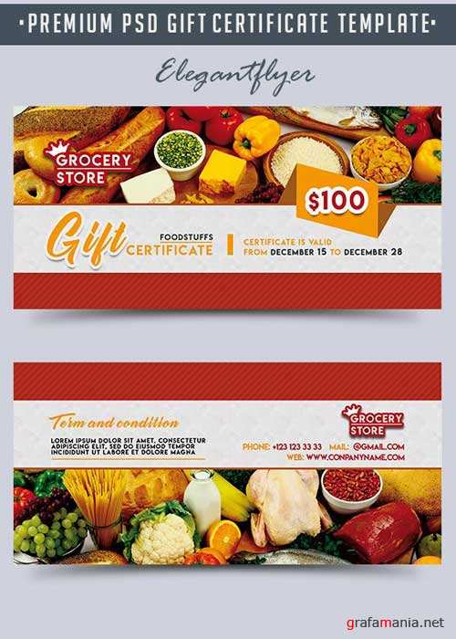 Grocery Store V1 Premium Gift Certificate PSD Template