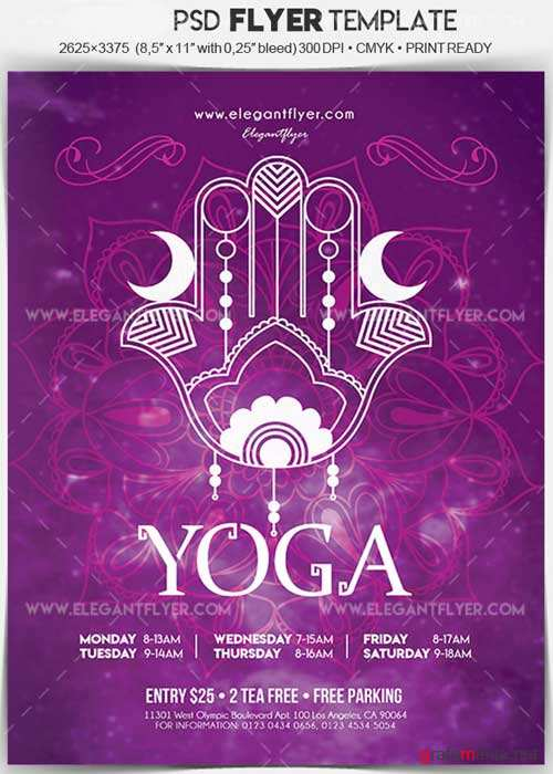 Yoga V34 Flyer PSD Template + Facebook Cover