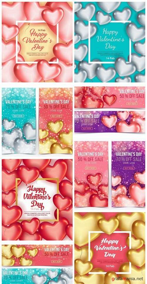 Valentine Day Heart Banner Background - 8 Vector