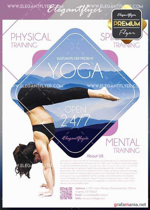 Yoga V1 2018 Flyer PSD Template + Facebook Cover