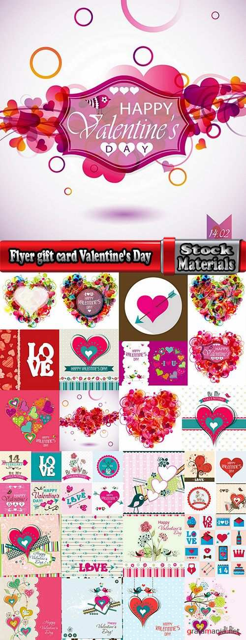 Flyer gift card Valentine's Day invitation card vector image 25 EPS